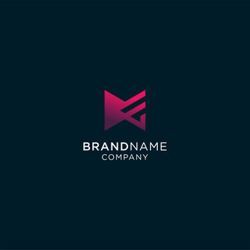 Abstract flat design letter M and E logo vector. Simple color and modern style. suitable for technology company , studio design, software development, web design and any other service company.