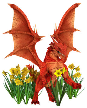 Red Welsh dragon standing in a group of yellow daffodils for St. David's Day, the patron saint of Wales St. David's Day is March the first, 3d digitally rendered illustration