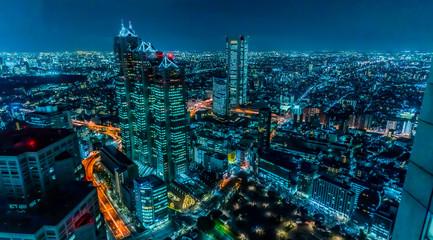Tuinposter Tokio 東京 新宿 夜景 サイバーパンク ~Night View of Tokyo Shinjuku Cyberpunk ~