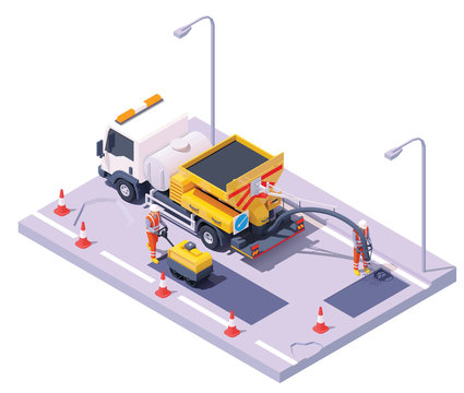 Vector isometric asphalt road potholes spray injection repair process. Potholes patching technology. Worker operating spray injection patching machine, worker with road roller. Repair and maintenance