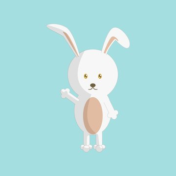Cute cartoon rabbit with standing pose