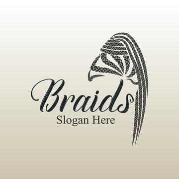Braids hair style logo design for girls