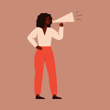 A young woman speaks into a megaphone. A strong girl agitator is calling for something. A female character shouts into a loudspeaker to protest. vector illustration.