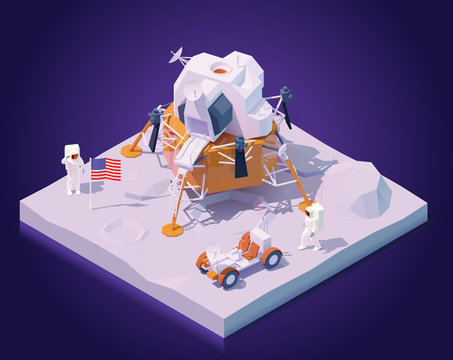 Vector isometric astronauts on Moon mission. Two astronauts walking on Moon surface, Apollo lunar landing module, lunar roving vehicle or rover, flag of the USA
