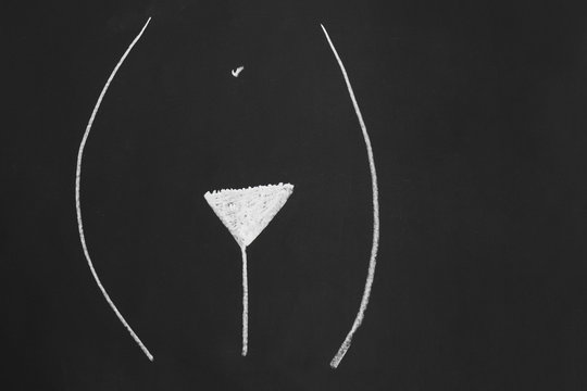 trimmed natural pubic hair style or hairstyle known as american or classic bikini wax or bermuda triangle - simple minimalist line drawing with chalk on blackboard