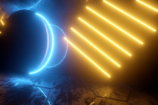3D render, abstract neon background, blue ring and yellow reflection lines, virtual reality,, ultraviolet light. Copy space