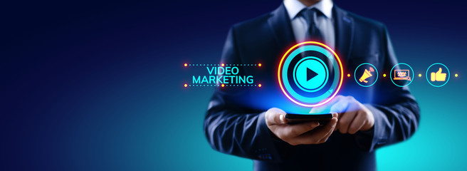 Video marketing online advertising business internet concept.