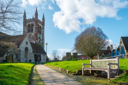 St Andrew's church in Farnham, Surrey, UK - February 2020