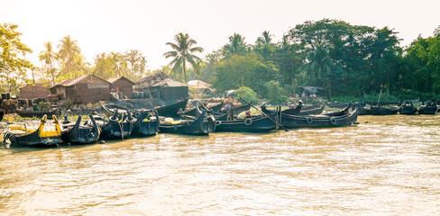 Fototapeta Village on the shore of Karnaphuli River