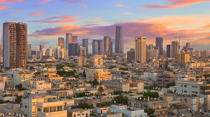 Fototapete - Tel Aviv the White City: Cityscape under a Beautiful Sky