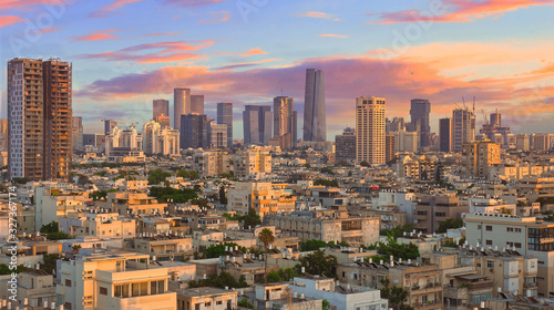Wall mural Tel Aviv the White City: Cityscape under a Beautiful Sky