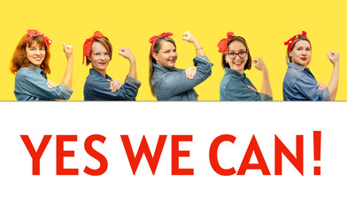 Women with a clenched fist rolling up their sleeves on yellow and white background with sign Yes We Can. Girl power concept. Women's day.