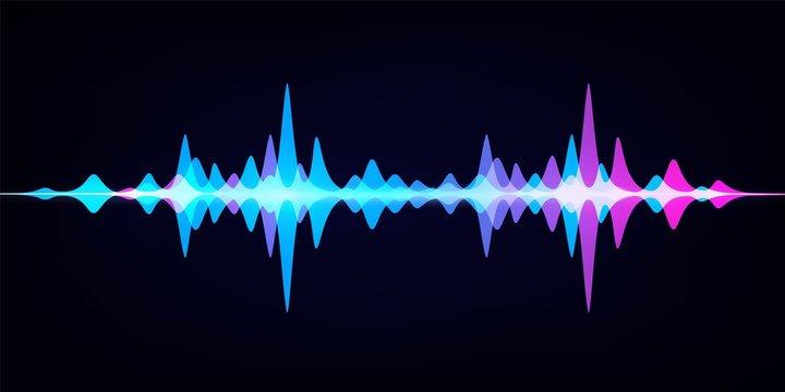 Sound wave equalizer. Modern audio spectrum. Abstract digital pulse wave. Vector waveform on dark background like soundtracks digital pattern