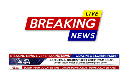 Background screen saver on breaking news. Breaking news live banner isolated on white background.