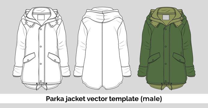 Parka jacket vector template for men