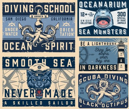 Nautical vintage colorful horizontal posters