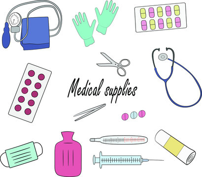 A medical supplies, set on a white background. Medical instruments.. Isolated objects.