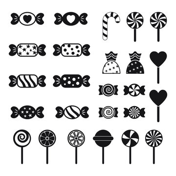 Candy and lollipop icon, vector set on white background