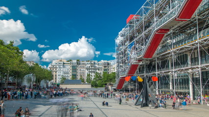 Facade of the Centre of Georges Pompidou timelapse in Paris, France. Fotobehang