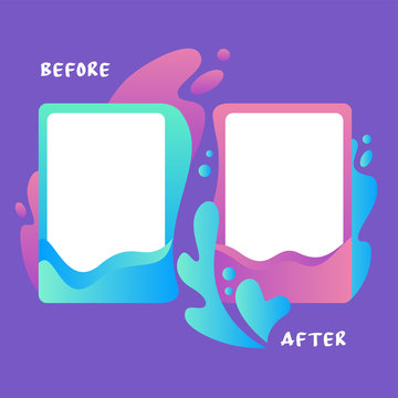 Colorful template before and after surrounded by water splash flat vector illustration. Colored abstract decorative frame with empty place isolated on purple background