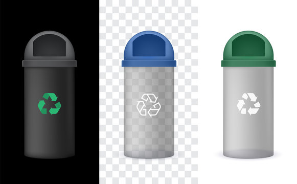 Vector Transparency Garbage Bin with Green Cap, Trash Can. Isolated on black and white