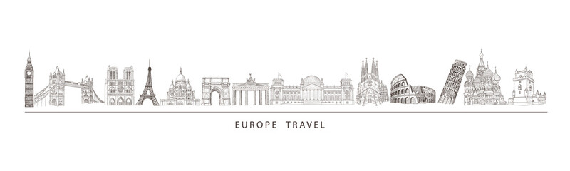 City travel landmarks, tourist attraction in various places of Europe. Tourism illustration. Fototapete