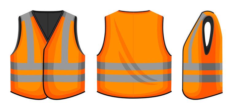 Safety vest vector illustration on white background . Jacket of worker vector cartoon set icon. Isolated cartoon set icon safety vest.