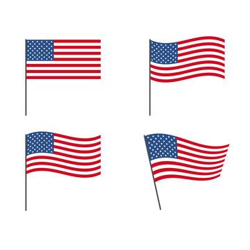 usa flag set isolated white background vector