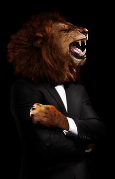 Boss concept lion in the office formal suite an shirt on black - dangerous businessman image mixed media