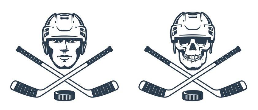 Hockey skull logo with crossed sticks. Ice hockey player in helmet - retro abstract emblem. Vector illustration.