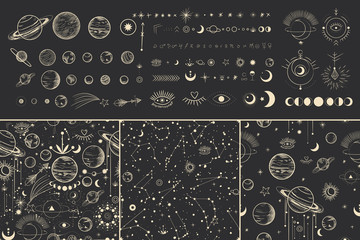 Vector illustration set of moon phases. Different stages of moonlight activity in vintage engraving style. Zodiac Signs Fototapete