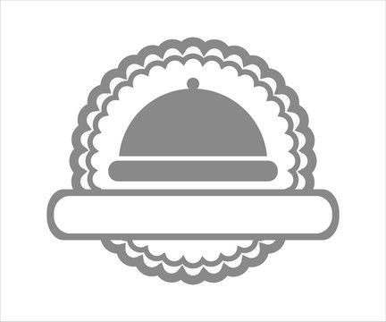 Cafe and Restaurant logo icon with cloche