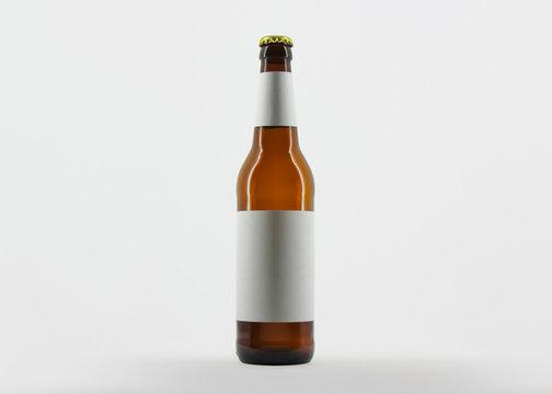 Beer Bottle Mock Up Blank Label. Full brown bottle. Beer bottle brown isolated on white background.
