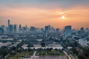 Fototapete - Bangkok panorama at sunset viewed from high up
