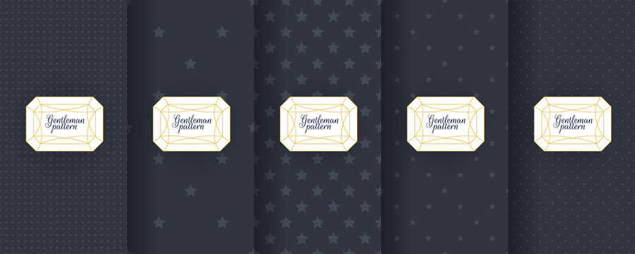 Set of dark vintage seamless backgrounds for usa packaging design. Geometric pattern in black. Suitable for premium boxes of cosmetics, wine, jewelry. Elegant vector ornament set. Fabric print.