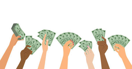 People hands holding money. Business concept.