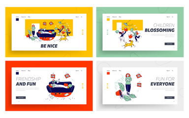 Kids Bad Behaviour, Mess Website Landing Page Set. Naughty Hyperactive Children Fighting, Playing and Making Chaos at Home. Game, Quarrel Web Page Banner. Cartoon Flat Vector Illustration, Line Art