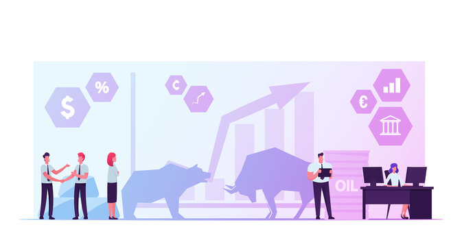 People Trading at Stock Market. Businesspeople Brokers or Traders Analyse Global Economics and Finance News for Buying and Selling Bonds and Currency. Bears and Bulls Cartoon Flat Vector Illustration