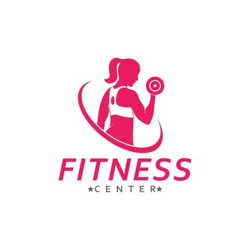 Fitness woman logo for Sport Label, Gym Badge, gym and fitness club, vector illustration
