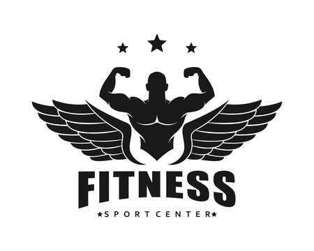 Fitness Gym logo design template weightlifting , vintage style vector emblem with wings. vector illustration