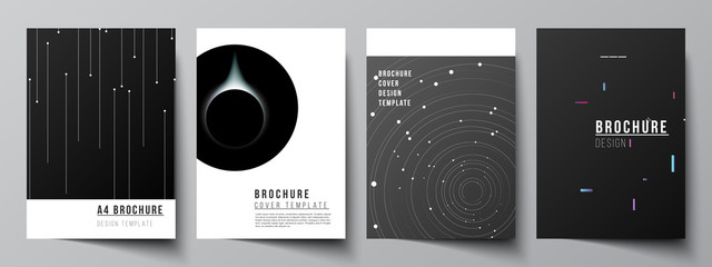 Obraz Vector layout of A4 format cover mockups design templates for brochure, flyer layout, booklet, cover design, book design, brochure cover. Tech science future background, space astronomy concept. - fototapety do salonu