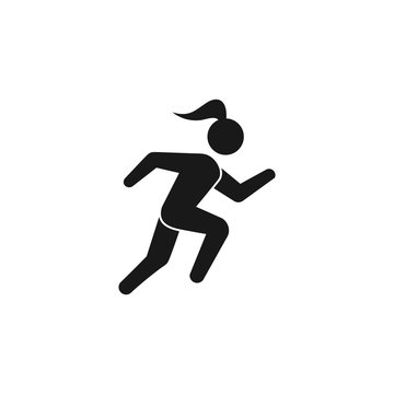 Running woman, athletics, marathon, summer sport, run icon isolated on white background