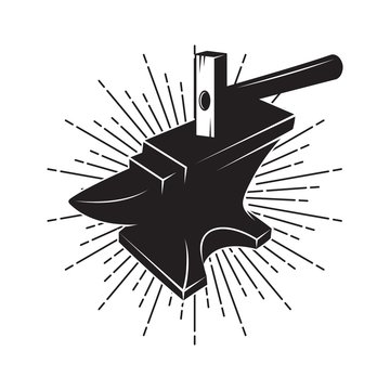 blacksmith. Forge. Anvil and hammer logo design template, vector icon Illustration