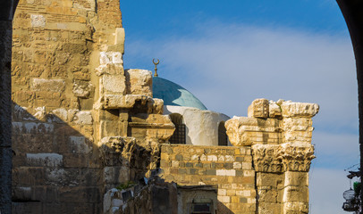 Ancient Roman architecture in  City of Damascus, Syria