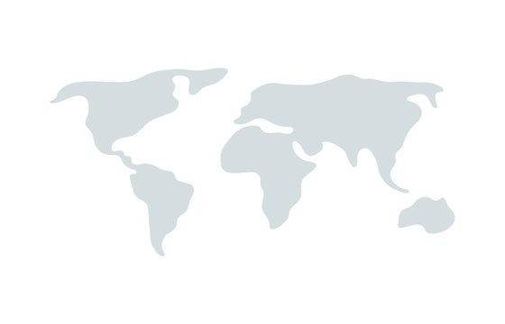 World vector map. Earth planet simple stylized continents silhouette, minimal simplified line contour
