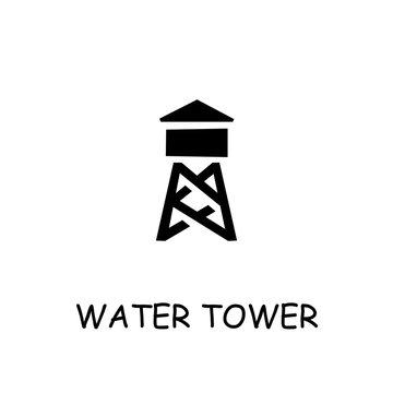 Water tower flat vector icon