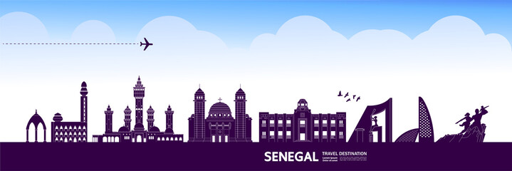 Fotomurales - Senegal travel destination grand vector illustration.