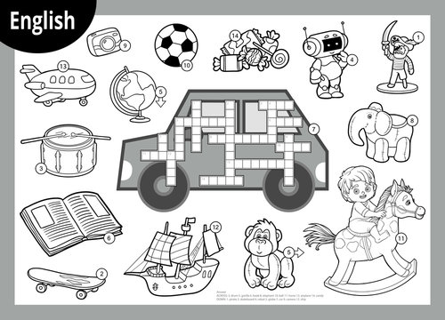 Vector black and white crossword in English. Cartoon set of toys and items for boys
