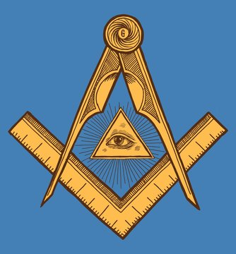 Freemason symbol - The Square and Compasses. Vintage occult print vector illustration.