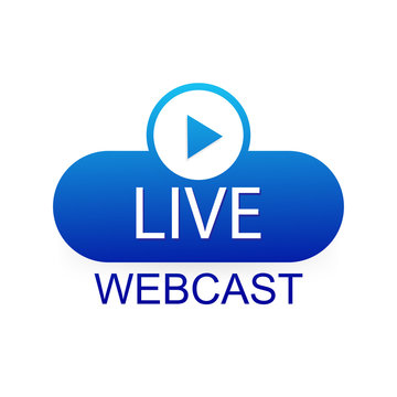 Concept live webcast for web page, banner, presentation, social media, documents. Watch video online.